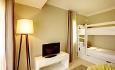Det er eget soverom med køyesenger for barna i familierommene