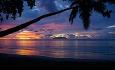 Solnedgang over stranden Beau Vallon